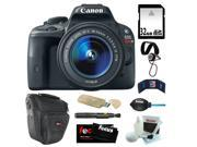 Canon EOS Rebel SL1 18MP Digital SLR with 18-55mm EF-S IS STM Lens and 3-inch Touch Screen + 32GB SDHC + Card Reader + Zoom Lens Camera Case + Accessory Kit