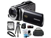 Samsung HMX-F90 5MP 1280x720 30p HD Camcorder + 16GB Secure Digital Memory Card + Deluxe SLR Soft Photo & Video Medium Case w/ Shoulder Strap & 2 Dividers + Mem