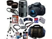Canon t5i EOS Rebel T5i 18.0 MP CMOS Digital Camera with EF-S 18-55mm f/3.5-5.6 IS STM Zoom Lens + EF 75-300mm f/4-5.6 III Telephoto Zoom Lens + Telephoto & Wid