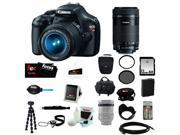 Canon t3 Canon EOS Rebel T3 12.2MP DSLR Camera & 18-55MM IS II Lens Black + Canon EF-S 55-250mm f/4-5.6 IS STM Lens + 32GB SD HC Memory Card + (2) Tiffen 58mm U