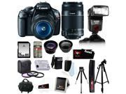 Canon t3 Canon EOS Rebel T3 12.2MP DSLR Camera w/ 18-55mm IS II Lens (Black) + Canon EF-S 55-250mm IS II Telephoto Zoom Lens + Bower Zoom TTL Flash Gun + 16GB D