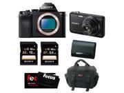 Sony a7 - Alpha A7R ILCE7R/B ILCE7RB 36.3 MP a7R Full-Frame Interchangeable Lens Camera (Body Only) with Sony DSC-WX80/B 16.2 MP Digital Camera (Black) + Sony 1