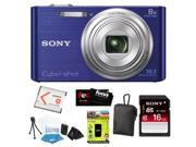 Sony W730 DSCW730L DSC-W730/L W730 Cyber-shot 16.1MP and 8x Optical Zoom Digital Camera Blue + Sony 16GB SDHC UHS-1 Memory Card + Sony Carrying Case Black + Acc
