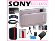 Sony TX66 Cyber-shot DSC-TX66 18.2MP Digital Camera with 5x Optical Zoom and 3.3-inch OLED in Pink + 16GB Micro SDHC + 2 Sony Cases + Replacement Battery Pack +
