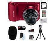 Samsung WB800F 16.3MP w/ Wi-Fi Ready Smart Digital Camera in Red + 32GB MicroSD HC Memory Card + Camera Case + Best Camera Kit