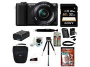 Sony a5100: Alpha a5100 ILCE5100L/B with 16-50mm Lens 24MP Mirrorless Interchangeable Lens Digital Camera (Black) 16GB Bundle 9SIA29P2MN8096
