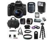 Canon T6i: EOS Rebel T6i Digital SLR with EF-S 18-55mm f/3.5-5.6 IS STM Lens + Slave Flash + 58mm Wide Angle and Telephoto Lenses + 32GB Deluxe Accessory Bundle