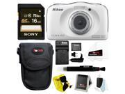 Nikon Coolpix S33 Waterproof Camera (White) with Battery and 16GB Accessory Bundle