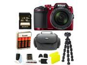 Nikon COOLPIX B500 Digital Camera (Red) with 16GB Card and Accessory Bundle