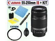 Canon EF-S 55-250/4.0-5.6 IS II Tele Zoom Lens + Tiffen UV Filter + Accessory Kit