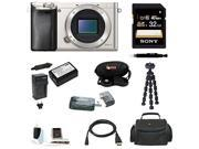 Sony a6000 Alpha A6000 Mirrorless Digital Camera Body Silver with 32GB Deluxe Accessory Kit