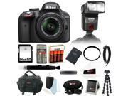 Nikon D3300 24.2 MP CMOS Digital SLR with AF-S DX NIKKOR 18-55mm f/3.5-5.6G VR II Zoom Lens (Black) + Bower Automatic TTL Flash for Nikon i-TTL + 64GB Accessory 9SIV07460R8678