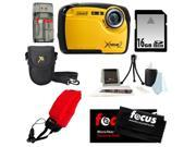 Coleman C12WP 16MP/HD Waterproof Camera (Yellow) + 16GB SD HC Memory Card + Point & Shoot Camera Case + Accessory Kit