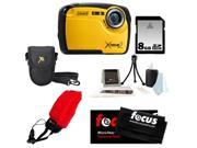 Coleman C12WP 16MP/HD Waterproof Camera (Yellow) + 8GB SD HC Memory Card + Point & Shoot Camera Case + Accessory Kit