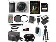 Sony a6000 Alpha a6000 24.3 MP Interchangeable Lens Camera with 16 50mm Power Zoom Lens Silver 64GB Deluxe Accessory Kit