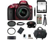 Nikon D5300 DX-format Digital SLR (Red) with 18-55mm VR II Lens and 64GB Accessory Kit