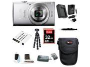 Canon PowerShot ELPH 170 IS Digital Camera (Silver) with 32GB Deluxe Accessory Bundle