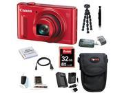 CANON SX610: Canon PowerShot SX610 IS Digital Camera HS Digital Camera (Red) with 32GB Deluxe Accessory Bundle