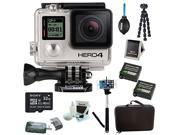 GoPro HERO 4 Black with Camera HD Camcorder With 2 Wasabi batteries and charger + Deluxe Carrying Case + Tripod+Seflie + Sony 32GB SDHC MicroSD Memory Card Complete Deluxe Accessory Bundle