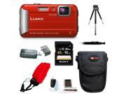 Panasonic Lumix DMC-TS30 Digital Camera (Red) with Deluxe Accessory Bundle
