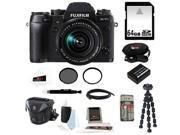 Fujifilm X-T1 Digital Camera w/XF18-55 (Black) + 64GB SD HC Memory Card + 58mm UV Protector + Deluxe Accessory Kit