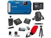 Panasonic DMC-TS30K LUMIX Digital Camera (Blue) with 32GB Accessory Bundle