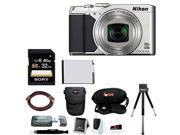 Nikon S9900 COOLPIX Digital Camera (Silver) with Sony 32GB Class 10 UHS-1 SDHC Memory Card and Accessory Bundle