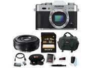 Fujifilm X-T10 Mirrorless Digital Camera Body (Silver) with 23mm Lens Bundle