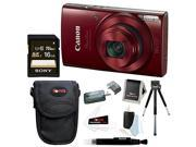 Canon PowerShot ELPH 190 IS 20 MP Digital Camera (Red) w/ 16GB Accessory Bundle