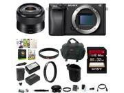 Sony a6300 Mirrorless Digital Camera w/ 35mm f/1.8 OSS E-Mount Prime Lens & 32 GB Memory Card Bundle