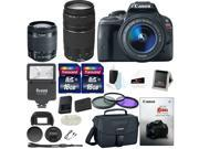Canon Rebel SL1 w/ 18-55 & 75-300mm lenses + Promotional  Holiday Bundle