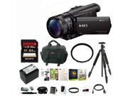 Sony HD Video Camera Black with Slik Sprint Tripd 64GB Memory Card Accessory Bundle