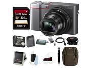 Panasonic Lumix DMC-ZS100 Digital Camera (Silver) w/ ZS60 & ZS100 Travel Bundle & 64GB Accessory Bundle 9SIA29P57T8102