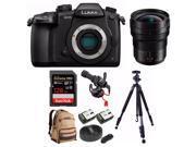 PANASONIC LUMIX DC-GH5 Body 4K Camera + PANASONIC H-E08018 + 128GB Bundle 9SIA29P69M1669