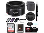 Canon EF 50mm f/1.8 STM Standard Prime Lens w/ 49mm Filter Kit & 32GB Card Bundle