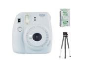 Fujifilm Instax Mini 9 (Smokey White) w/ Single Foil Pack Film & Tripod Kit
