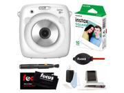 Fujifilm Instax SQ10 Instant Camera (White) w/ Square Film & Accessory Kit