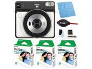 Fujifilm instax Square SQ6 Instant Camera (White) with Film Bundle (3-Pack)
