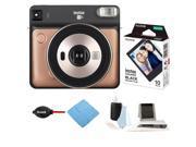 Fujifilm Instax Square SQ6 Instant Camera (Blush Gold) with Film Bundle