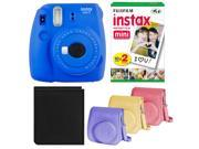 Fujifilm Instax Mini 9 Instant Camera (Cobalt) with Film,Groovy Case, and Album