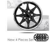"14"" 8 Spikes Black Hubcap Covers with Chrome Rim Brand New Set of 4 Pieces 522"
