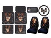 Tasmanian Devil Taz w/ Attitude 8pc Combo Set Front & Rear Floor Mats, Seat Covers, CD Visor Organizer & Steering Wheel Cover