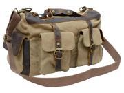 Gootium 40591KA Canvas Full Grain Leather Vintage Top Handle Handbag,Khaki