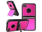 HJX Hot Pink iPhone 5 5G Cell Phones & Accessories Holder TPU Brushed Aluminum Hard Case Cover W/Chrome Dual Stand For iPhone 5 5G