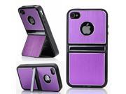HJX Purple iPhone 5 5G Cell Phones & Accessories Holder TPU Brushed Aluminum Hard Case Cover W/Chrome Dual Stand For iPhone 5 5G