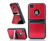 HJX Red iPhone 5 5G Cell Phones & Accessories Holder TPU Brushed Aluminum Hard Case Cover W/Chrome Dual Stand For iPhone 5 5G