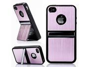 HJX Pink iPhone 5 5G Cell Phones & Accessories Holder TPU Brushed Aluminum Hard Case Cover W/Chrome Dual Stand For iPhone 5 5G