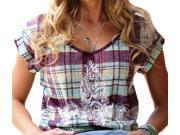 Cruel Girl Western Shirt Womens S/S Plaid Cap M Purple CTK9718005