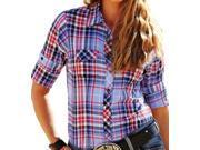 Cruel Girl Western Shirt Womens L/S Plaid Snap XS Blue CTW9351002