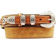 Nocona Western Belt Mens Leather Ranger Star Concho 42 Brown N2501844